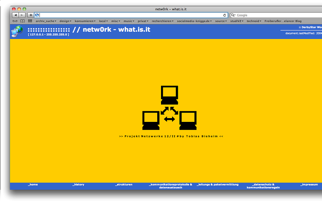 """netw0rk – what.is.it"" / Website / 2004."