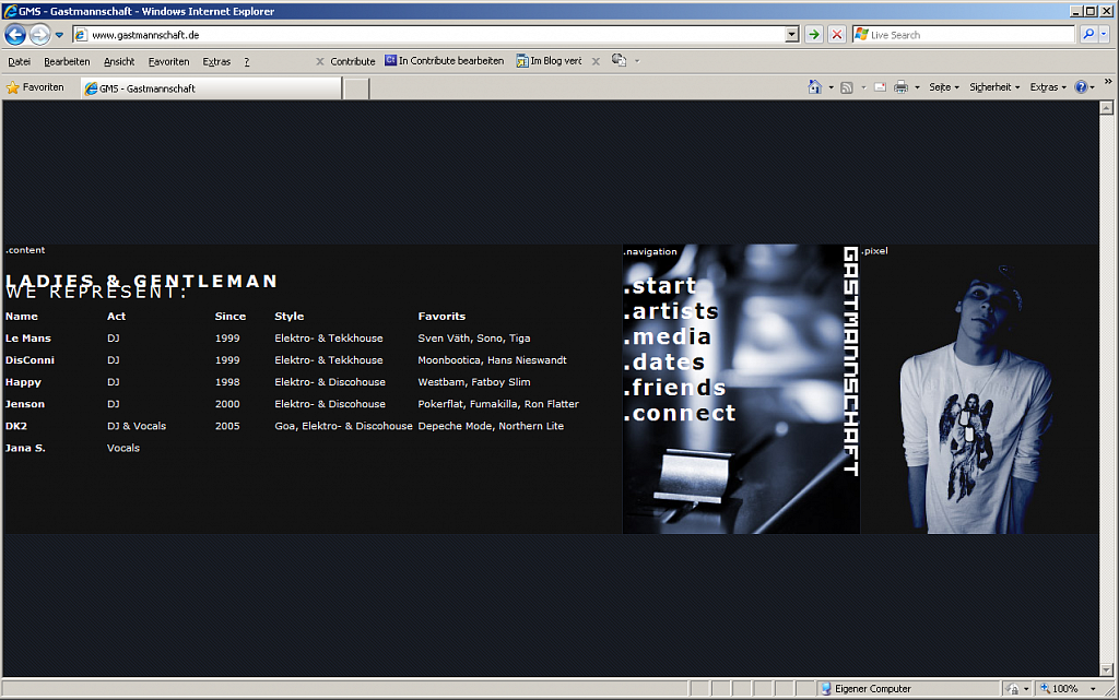 Gastmannschaft DJ-Team / Website / 2007.