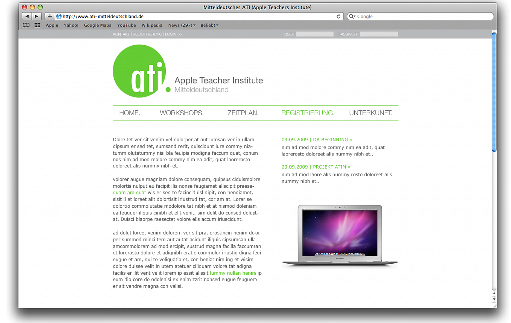 """Apple Teacher Institute Mitteldeutschland"" / Webdesign / 2009."