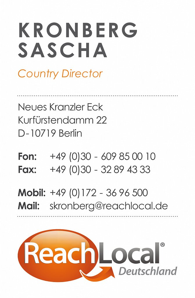 ReachLocal / Visitenkarte / 2011.