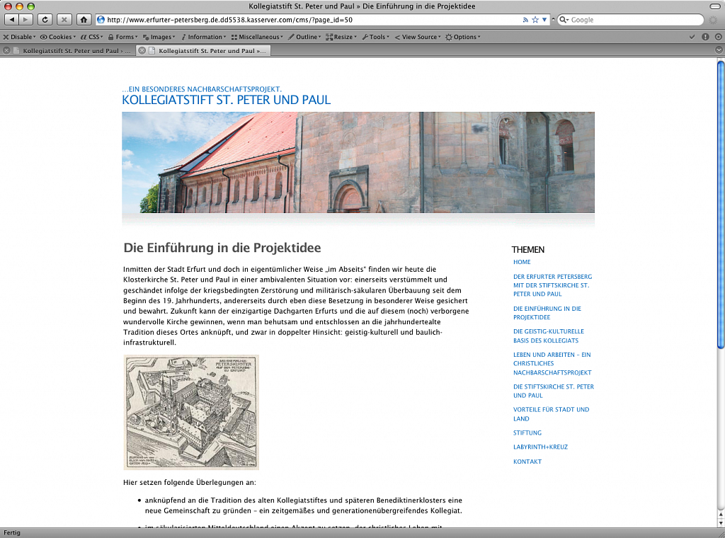 Internationale Martin Luther Stiftung / Website via CMS / 2009.